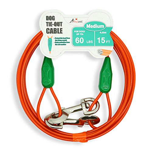 Price comparison product image Petest 15ft Tie-Out Cable with Crimp Cover for Medium Dogs Up to 60 Pounds