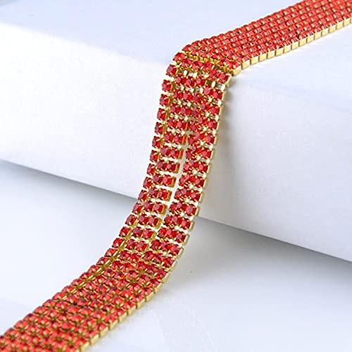 Cadena de diamantes de imitación 1 metro/lote Base de garra dorada Piedras brillantes Cristales Cadena de diamantes de imitación para coser no artesanales para ropa