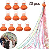 20 Pieces Streamers Popper Throw Streamers Party Streamers Spider Silk Confetti Magic Hand Held Throwing Streamer for Birthday Wedding Graduation Party Favors Shows (Gold, Rose Red)