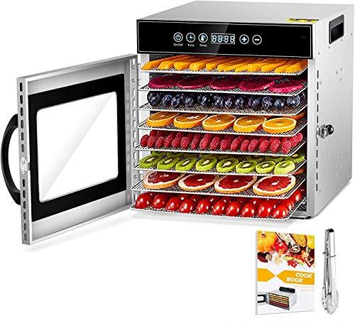 GCSJ Acciaio Inossidabile Essiccatori per Alimenti, 10 scomparti Con Display LCD, 24 ore Timer, 30-90°C Temperatura Regolabile, 10 Foglio di maglia SS304, 1000W Essiccatore di Frutta e Verdura
