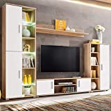Oudan 4 Stück TV-Wandeinheit Entertainment Unit mit LED-Leuchten for Wohnzimmer, Sonoma-Eiche und weiße Spanplatte - TV-Schrank | Regal anzeigen | Seitenschrank (Farbe : -, Größe : -)