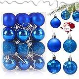4cm Bolas Navidad Azul, 24 PCS Bolas de Navidad, Adornos árbol de Navidad, Navidad Esferas de Plastico, Boda de Fiesta Hogar, Decoraciones para Festivales, Textura de Diamante Mate Brillante
