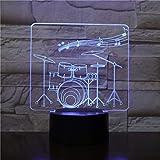 Creative Drum Set 3D Lámpara de mesa Regalo de juguete para niños Color remoto/LED Lámpara de mesa 3D Regalo de juguete para niños Luz nocturna Luz nocturna Instrumentos musicales Ambiente 2301