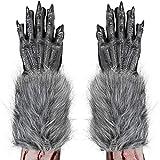 Skeleteen Werewolf Hand Costume Gloves - Grey Hairy...