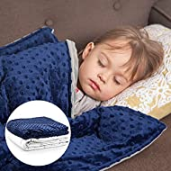 """Roore 10 lb Weighted Blanket for Kids I 41x60 I Weighted Blanket with Plush Minky Removable Cover I Weighted with Premium Glass Beads I Perfect for Children from 80 to 125 lb (Blue, 10 lb 41""""x60"""")…"""