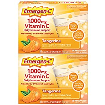 Emergen-C 1000mg Vitamin C Powder with Antioxidants B Vitamins and Electrolytes Vitamin C Supplements for Immune Support Caffeine Free Drink Mix Tangerine Flavor - 60 Count/2 Month Supply
