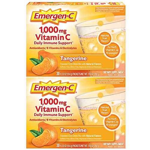 Emergen-C 1000mg Vitamin C Powder, with Antioxidants, B Vitamins and Electrolytes, Vitamin C Supplements for Immune Support, Caffeine Free Drink Mix, Tangerine Flavor - 60 Count/2 Month Supply