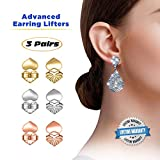 Love Lifters Premium Quality Earring Lifters | GIFT BOX | Ear Support | 3-Pairs of Pierced Ear Lobe Back Lift | Sterling Silver, 18K Gold Plated and Rose Gold for Ear Lobe Reinforcement | Plus BONUS