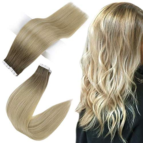 Easyouth Extensions Tape Klebestreifen 16zoll 40g Extensions Tape in Echthaar Chestnut Brown mit Blond Mischen Ombre Extensions Echthaar Tape