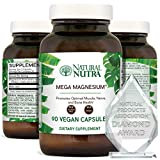 Natural Nutra Mega Magnesium® Supplement from Amino Acid Malate, Chelate, Citrate, Malic Acid, Maintain Blood Pressure, Better Sleep, Alleviate Despression, Improves Bone Strength 400 mg, 90 Capsules