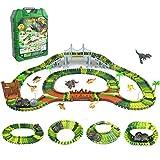 Dinosaurier Spielzeug Rennbahn 216 Stück Tracks Cars Spielzeug mit 1 Dinosaurierauto & 8 Dinosaurier Spielzeug Autorennbahn Geschenk für Kinder Mädchen Junge Ab 3 4 5 6 7 Jahre