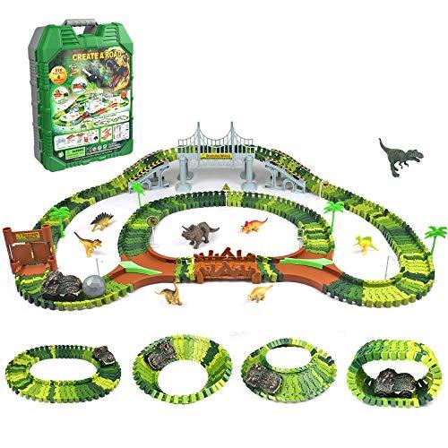 Symiu Dinosaurios Juguetes Jurassic Animales Tren Flexible de Dinosaurios Pista de Carreras Caja de Manija Set Juguete Educativo para Niños Niñas 3 4 5 6 7 Años