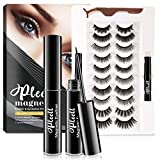 Updated Magnetic Eyelashes with Eyeliner,10 Different Styles Natural & Dramatic Makeup Waterproof Magnetic Lashes with 2 Magnetic Eyeliner-No Glue Needed