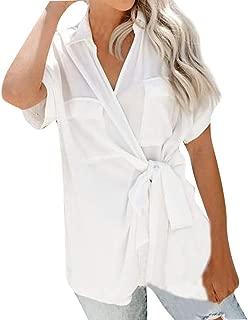V-Neck Strap Solid Color Short-Sleeved Lapel Pocket T-Shirt Elegant Work Blouse