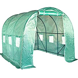 Greenhouse Kit Indoor Portable Greenhouse Plant Shelves Tomato Herb Canopy Winter Walk-in Green House for Patio 2 ♠【LARGE TUNNEL GREENHOUSE】The greenhouse use PE fabric with 1 rolling-up door and 8 vents for entry greenhouse. Tunnel greenhouse design offers growing space and ventilation for large size plants. ♠【PROTECT THE PLANTS】Outdoor greenhouse will surely extend your plants growing season no matter where you live, greenhouse can be set up easily. ♠【EASY TO ASSEMBE】The greenhouse comes with all hardware & necessary tools. Follow the portable greenhouse instruction, you'll found easy to set up, and estimated assembly with 2 people.