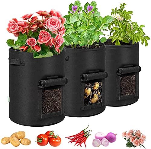 3 Pack Potato Grow Bags, JoyKoo 7 Gallon Velcro Window Vegetable Fabric...