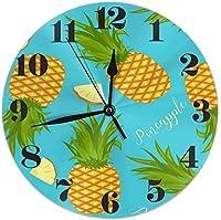 全体のパイナップルとスライス丸い壁時計サイレント非カチカチ音をたてるバッテリー操作学生のオフィスのために読みやすい学校の家の装飾的な時計アート全体のパイナップルとスライス