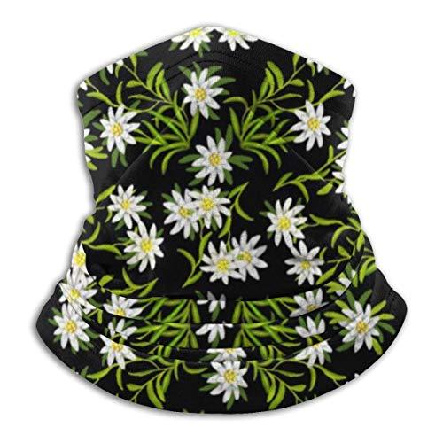IZOU Swiss Alpine Edelweiss Floral Neck Gaiter Face Mask,Multifunction for Man Women seasons Magic Scarf Bandana Balaclava