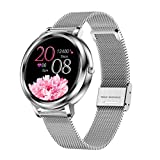 Fitness Tracker Smart Watch Womens Small Wrist Round Face Custom Dial with Pedometer Blood Pressure Heart Rate Oxygen Monitor ip67 Waterproof Smartwatches for iPhone Compatible Android Phones Silver