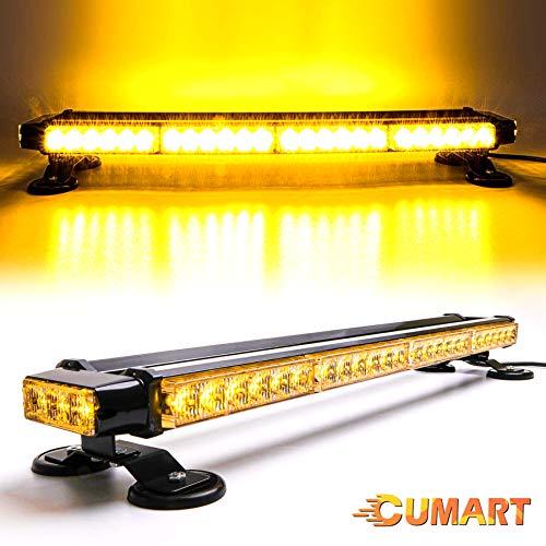 CUMART 26.5' Amber Yellow 54 LED Light Bar Double Side Emergency Warning Flash Strobe Light Traffic Advisor with Magnetic Base (26.5' 54LED, Amber/Yellow)