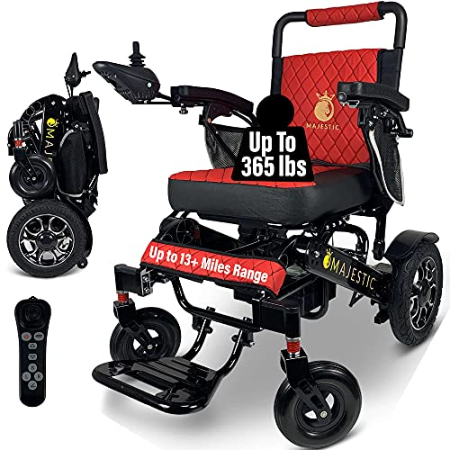 """2020 Best Limited Edition Remote Control Foldable Electric Wheelchair Mobility Aid Lightweight Motorized Power Wheelchairs (19.5"""" Wide) (Black-Red)"""