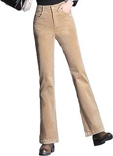 f7d482262b QJKai Pantalon en Velours côtelé Micro Bell Automne et Hiver Femme Taille  Haute rétro Sauvage Pantalon