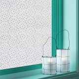 """Privacy Window-Film Non Adhesive Glass Window-Sticker Paper Static Cling Decorative Snowflake Pattern Flower Decal Panel 17.7"""" x 78.7"""" - CAS103"""