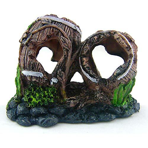 N\O Decorazione per Acquario in Resina, Artificiali Cave Fish Tank, Spezzato Barrel Vino Vasca Acquario Decor, Grotta per Acquario in Resina per Piccoli Pesci Grotta Nascondino Habitat (1 X10X6cm)