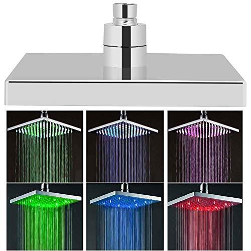 Duschkopf Viereckig Regendusche Edelstahl LED Duschbrause, 8 Zoll Kopfbrause Quadratischer Einbauduschkopf mit 7-Farbewelchseln nach Temperatur, Anzug für zu Hause und im Hotel
