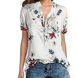 MORETIME Damen Oberteil Elegant Sommer Drucktasche Plus Size Kurzarm Bluse Easy Top Shirt hellblau flanellhemd transparente wickelbluse gelb ärmellos ärmellose chiffon sommerblusen