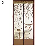 Sukisuki - Malla mosquitera magnética para puertas, dacron, café, 90cm x 210cm