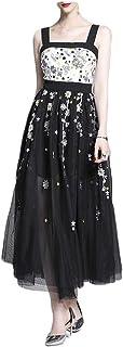 Zhengpingpai Women's Summer Embroidered Aphrodisiacal Backless Temperament Mesh Strap Clothe Dress