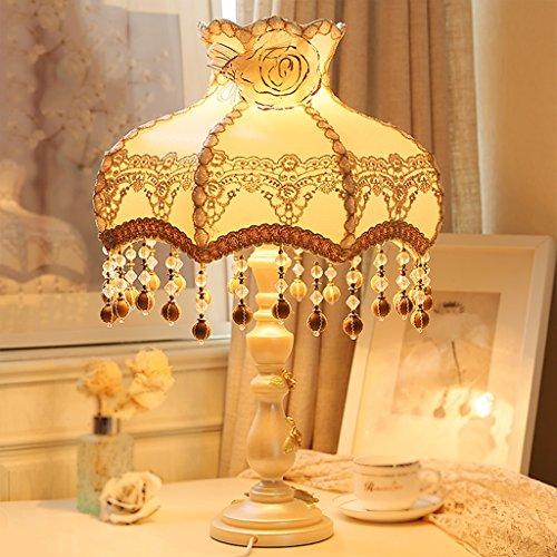 Bonne chose lampe de table Lampe de table Lampe de chevet en tissu de style Pastoral Européen Lampe de chevet de chambre à coucher Princesse Lampe de table chaude