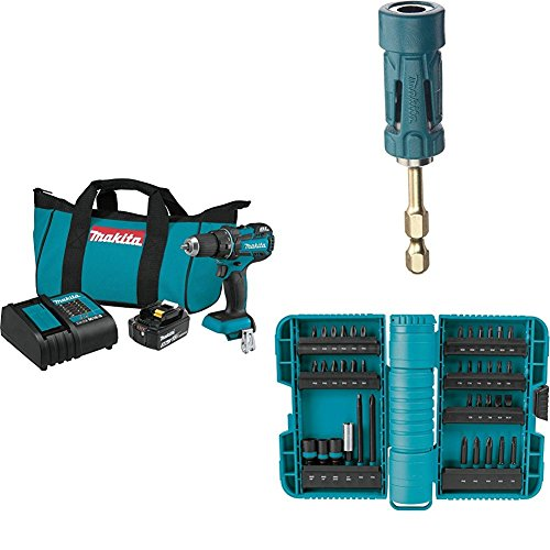 Makita XFD061 18V LXT Lithium-Ion Compact Brushless Cordless 1/2' Driver Drill Kit (3.0Ah) with B-35097 Impact GOLD Ultra-Magnetic Torsion Insert Bit Holder with A-98332 ImpactX 40 Pc. Driver Bit Set