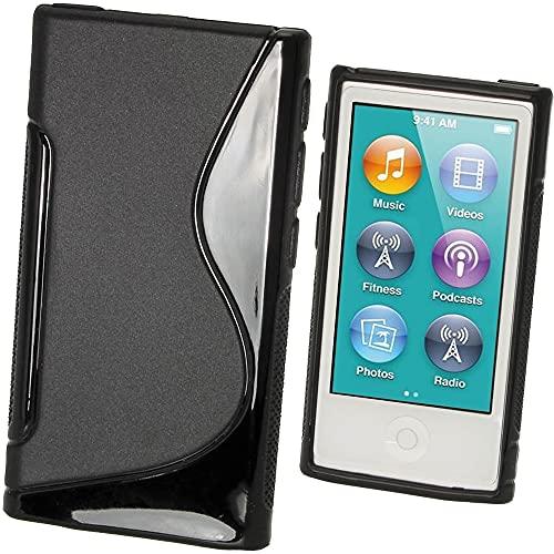 igadgitz S Line Negro Case TPU Gel Funda Cover Carcasa para Apple iPod Nano 7ª Gen 7G 16GB + Protector de pantalla