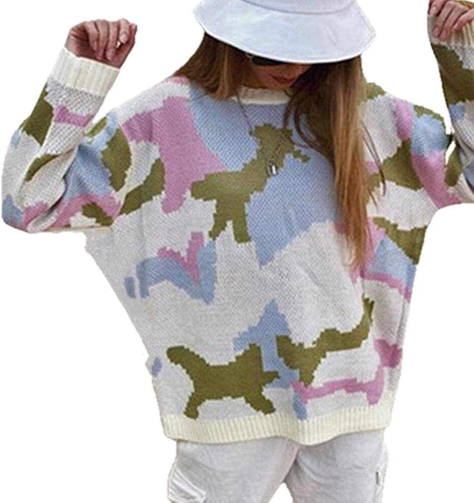 NP Knitted Color Block Loose Sweater Long-Sleeved Autumn and Winter