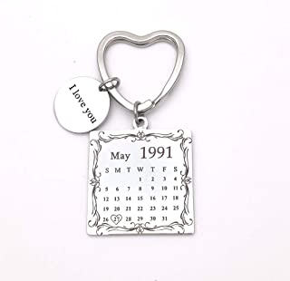 Personalized Custom Special Date Calendar Stainless Steel Keychain with Circle for Lover Family Best Friends (Heart Keychain)