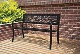 BIRCHTREE 3 Seater Garden Bench Slat Steel Rose Style Park Patio Outdoor Furniture Seat Chair Metal C074 Black