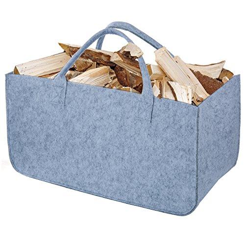 Bolsa de Fieltro, Diealles Chimenea Madera Cesta con Mango para Transportar Madera, Juguetes, Periódicos, Compras, 50 x 25 x 25 cm (Gris)