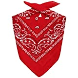 Lipodo Bandana Classique Bandanas Foulard (Taille Unique - Rouge)