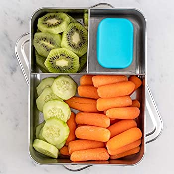 WeeSprout 18/8 Stainless Steel Bento Box (Large) | 3-Compartment Metal Lunch Box for Portion Control | for Kids & Adults | Bonus Dip Container | Fits in Lunch/Work Bags | Dishwasher & Freezer Friendly