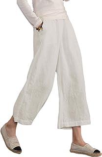 e9dd7e3e7f4227 Ecupper Womens Loose Cotton Capris Plus Size Casual Trouser Cropped Wide  Leg Pants