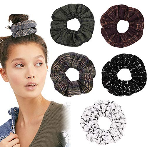 6PCS Plaid scrunchies prime, Colorful Velet Elastic Hair Ties,Thread Large Hair Ties, Strong Elastic Hair Bobbles for Ponytail Holder (6 Pcs Plaid Scrunchies prime)
