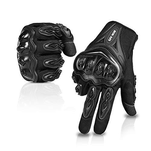 IRON JIA'S Par Guantes Dedo Completo PU Proteccion para Moto Bici Motocicleta Motorista puede pantalla táctil … (L, negro)