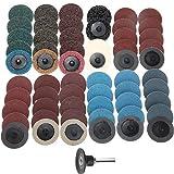 YANJHJY 60Pcs / Set 2 pulgadas 50mm Roll Lock Discos de lijado de superficie Almohadilla lijadora de pulido, para herramientas rotativas de metal para carpintería