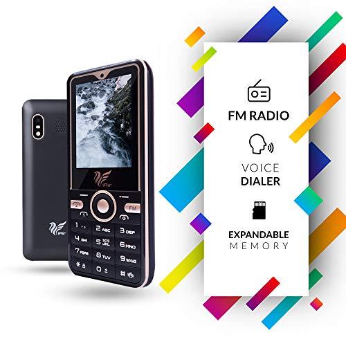 iAir Basic Feature Dual Sim Mobile Phone with 1250mAh Battery, 2.4 inch Display Screen, 0.8 mp Camera (IAIRFPS1N, Black-Gold)