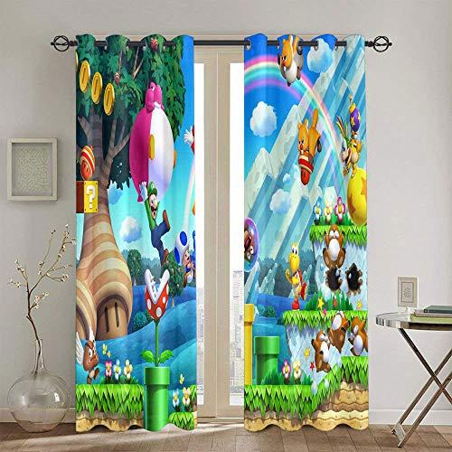 Cortinas opacas con ojales sólidos Super Mario Odyssey para dormitorio de niñas, cortinas personalizadas Chid de 106,7 x 114,3 cm
