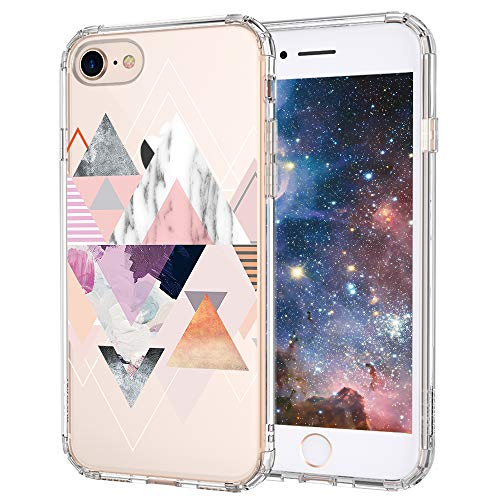 iPhone 7 Case, iPhone 8 Case Clear, MOSNOVO Geomatric Marble Pattern Clear Design Printed Plastic Hard Back Phone Case with TPU Bumper Protective Case Cover for iPhone 7 (2016) / iPhone 8 (2017)