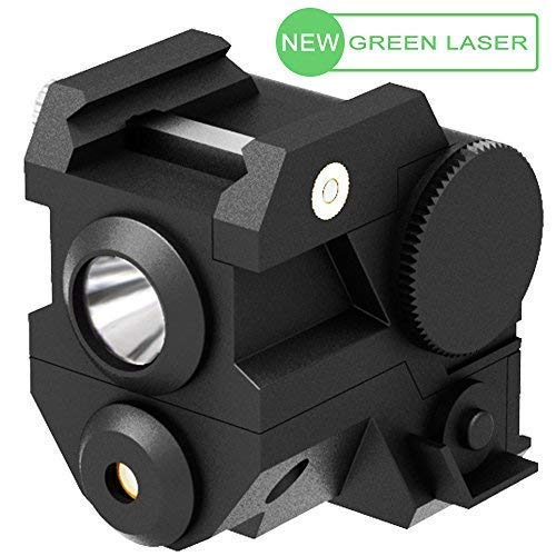 Laspur Mini Tactical Sub Compact Rail Mount Green Laser Sight with High Lumen Light Integrated Combo with Strobe