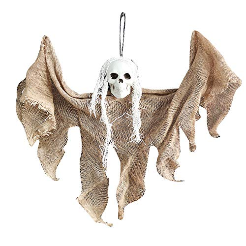 SDERS Halloween Dekorationen Horror Hanging Taro Kleiner hängender Geist, Halloween Flying Ghosts Gruselige Requisiten für Partydekorationen Hexen Schädelfledermäuse (Orange)
